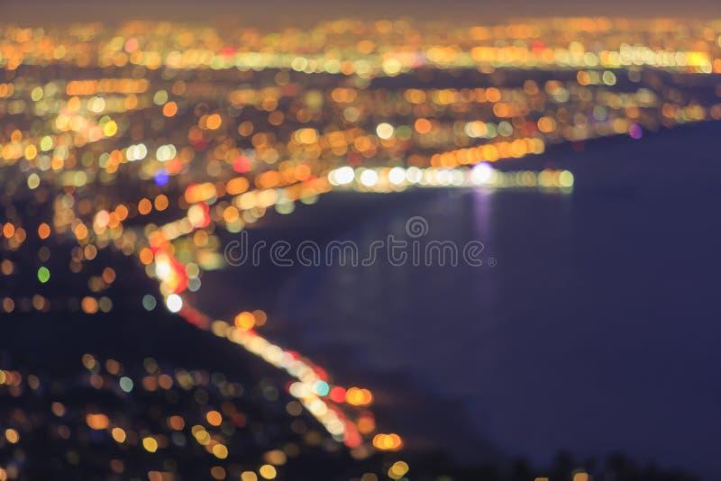 Santa Monica bay from top. Blur abstart background of Santa Monica bay night scene from top stock photo