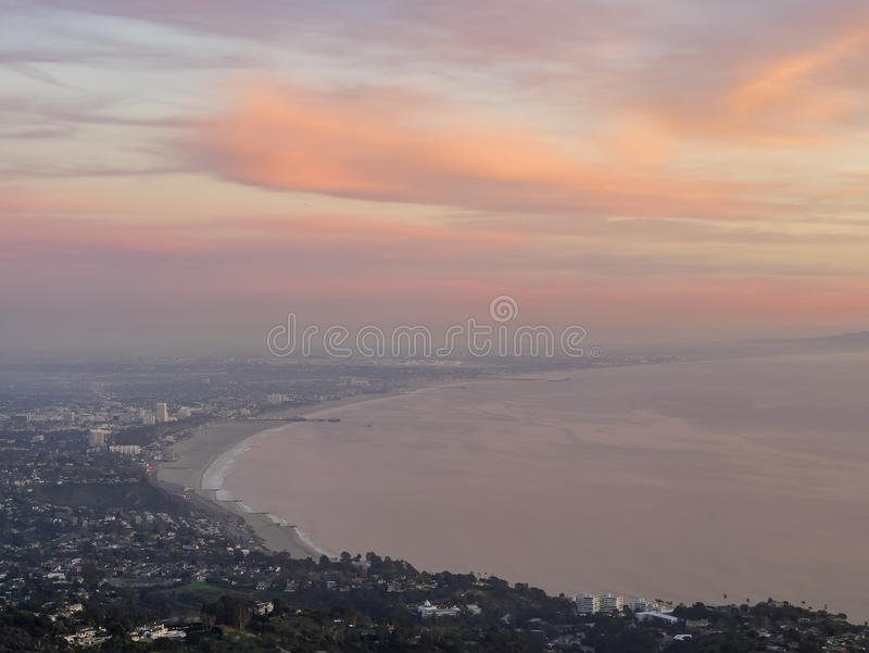 Santa Monica bay from top. Sunset red cloud view of Santa Monica bay from Parker Mesa Overlook stock image