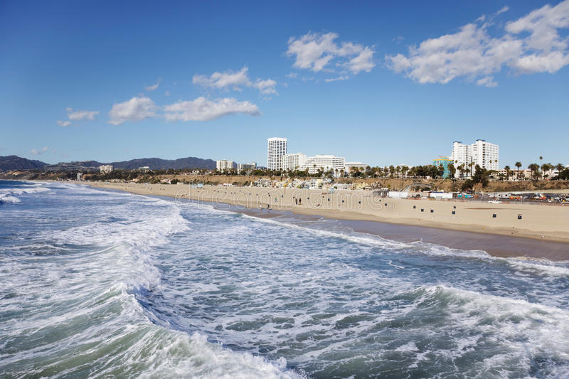 Santa Monica Beach. From the pier on a sunny Winter day stock photography