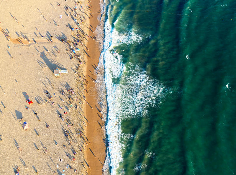 Santa Monica beach from above. Aerial view of the beach in Santa Monica, CA stock images