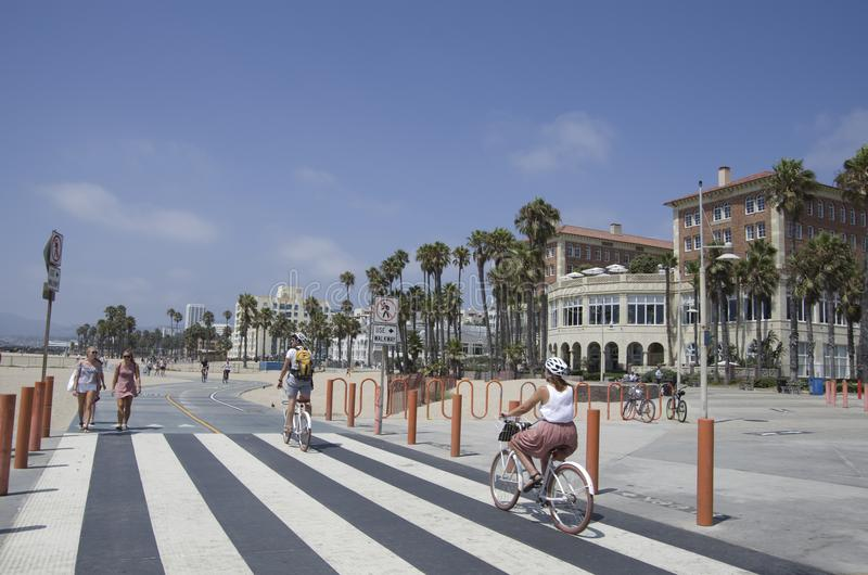 Santa Monica Beach, Los Angeles, California. Santa Monica beach is big and filled with energy. It is the most popular beach in Los Angeles area stock photo