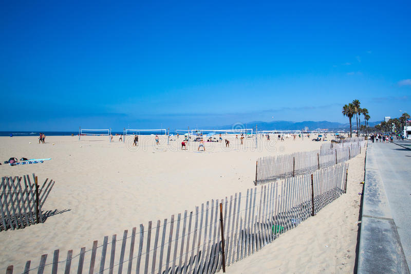 Santa Monica Beach During The Day. Los Angeles, USA - 9th August 2015: Volleyball courts on Santa Monica Beach on a warm sunny summer's day stock images