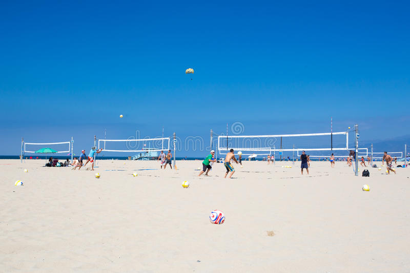 Santa Monica Beach During The Day. Los Angeles, USA - 9th August 2015: Volleyball courts on Santa Monica Beach on a warm sunny summer's day royalty free stock photos