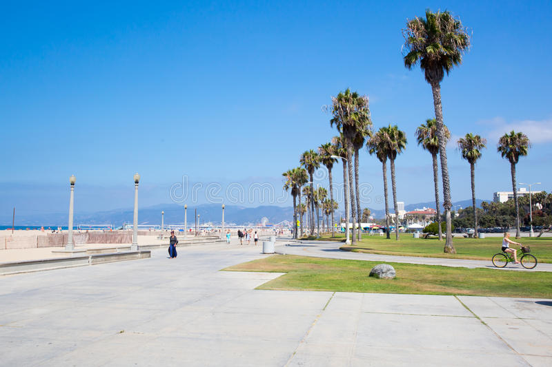 Santa Monica Beach During The Day. Los Angeles, USA - 9th August 2015: Santa Monica Beach on a warm sunny summer's day stock image