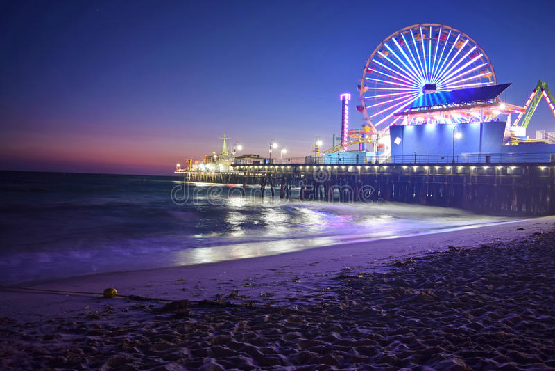 Santa Monica Beach nachts stockbilder