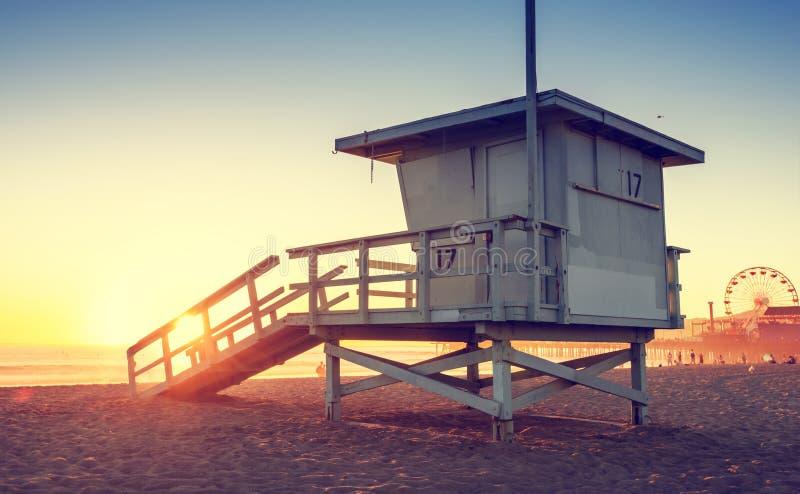 Santa Monica beach. Lifeguard tower in California USA at sunset royalty free stock photo