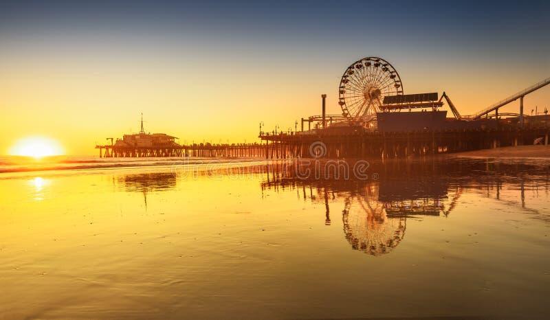 Santa Monica beach. And pier in California USA at sunset stock photo