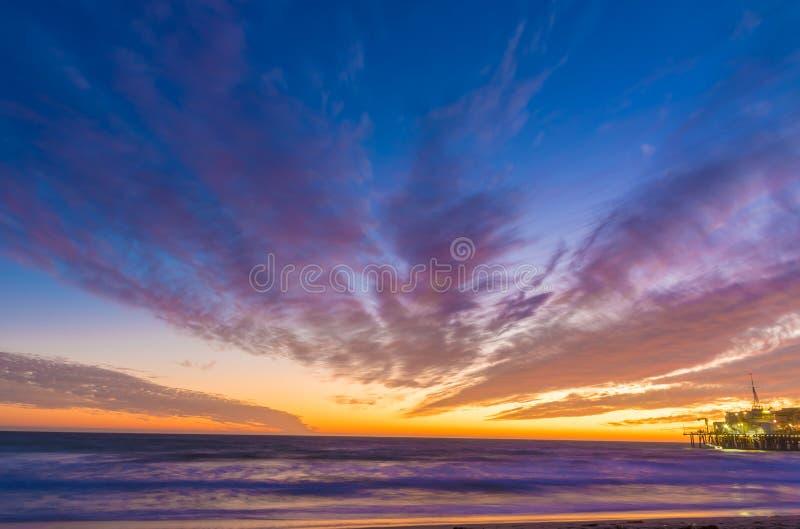 Santa Monica Beach at sunset royalty free stock images