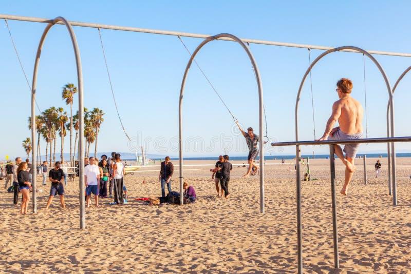 Santa Monica Beach Workout royaltyfri foto