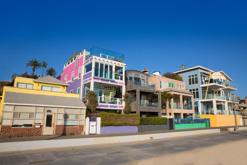 Santa Monica California beach colorful houses. In USA stock photography