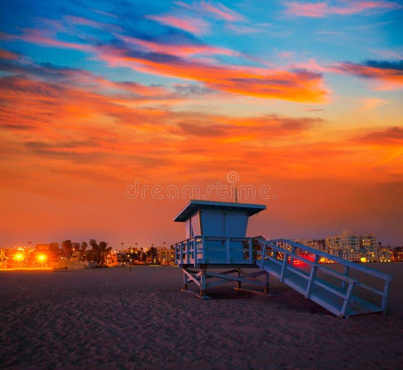 Santa Monica California-de toren van de zonsondergangbadmeester royalty-vrije stock foto's