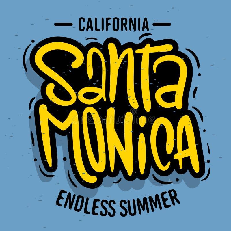 Santa Monica California Design Logo Sign etikett för bild för vektor för reklamblad för skjorta för befordranannonser t eller kli royaltyfri illustrationer