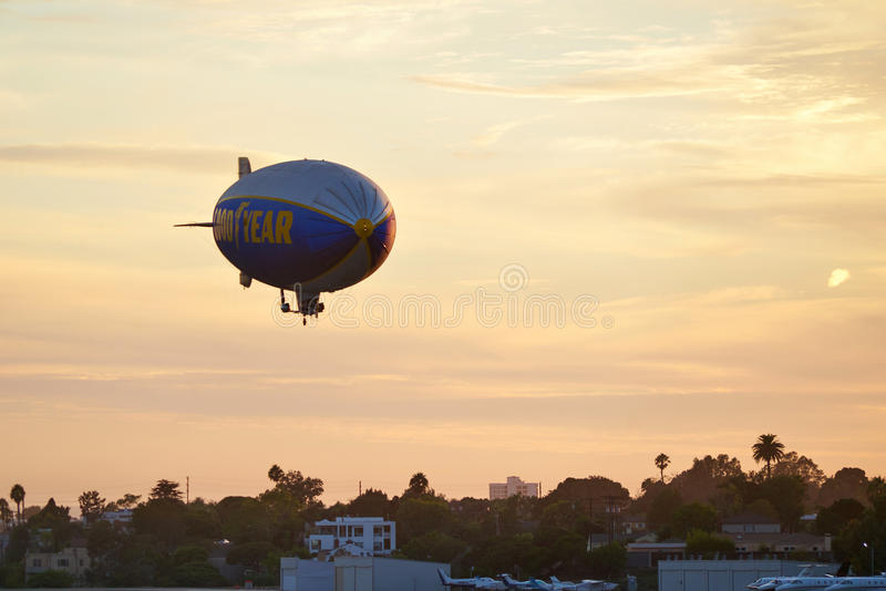 SANTA MONICA, CALIFORNIA USA - OCT 07, 2016: The Good Year blimp Zeppelin flies over airport. SANTA MONICA, CALIFORNIA USA - OCT 07, 2016: The Good Year blimp royalty free stock photo