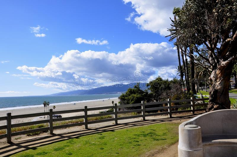 Santa Monica Coast. Photo Taken mid day on the cliffs above Santa Monica beach on a clear day stock photo