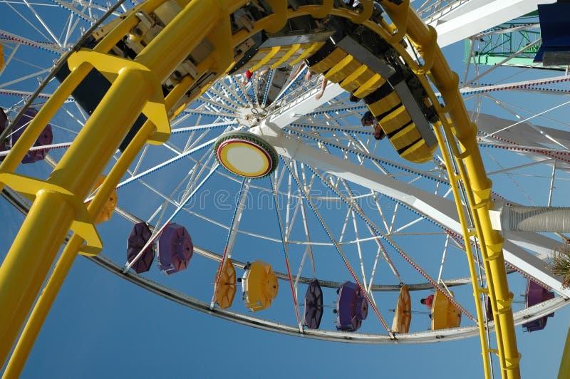 Santa Monica Ferris Wheel and Coaster royalty free stock photo