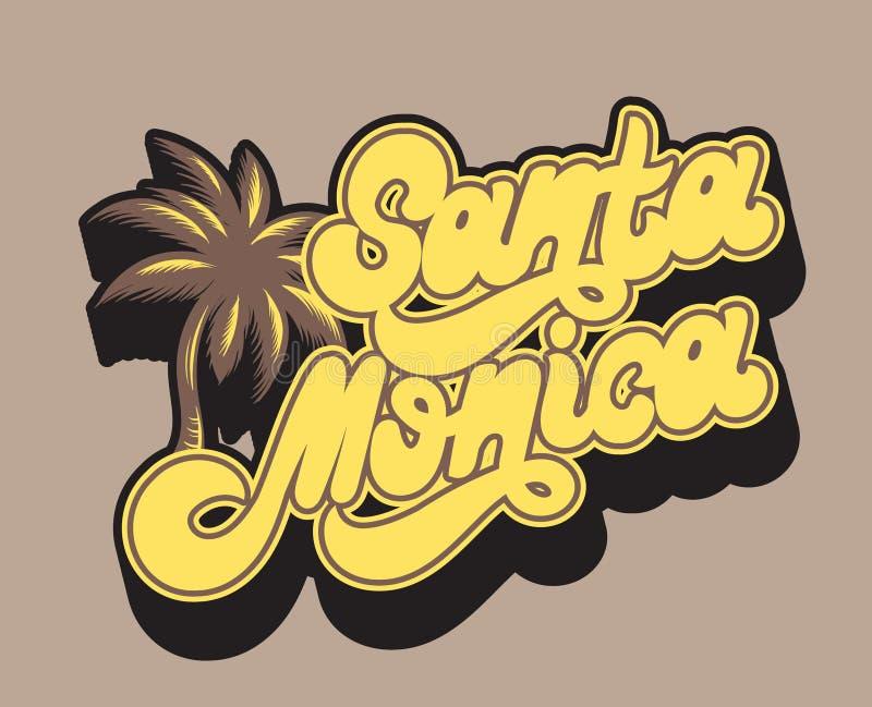 Santa Monica Lettrage de handwrittem de vecteur d'isolement illustration de vecteur
