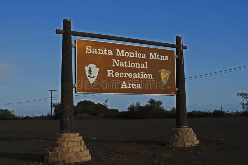 Santa Monica Mountains National Recreation Area tecken arkivfoto