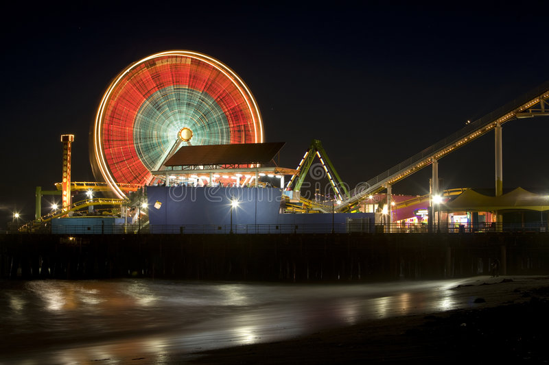 Santa Monica Pier 10. Horizontal image of the Pacific Wheel, recently sold at auction, at the Santa Monica Pier amusement park royalty free stock photography