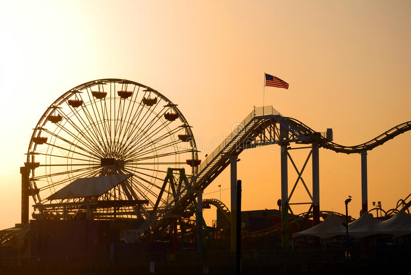 Santa Monica pier. Beautiful view of Santa Monica pier in Los Angeles, California stock photo