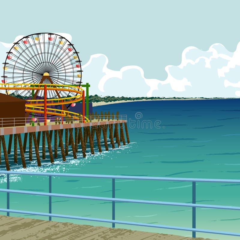 Santa Monica pier vector illustration