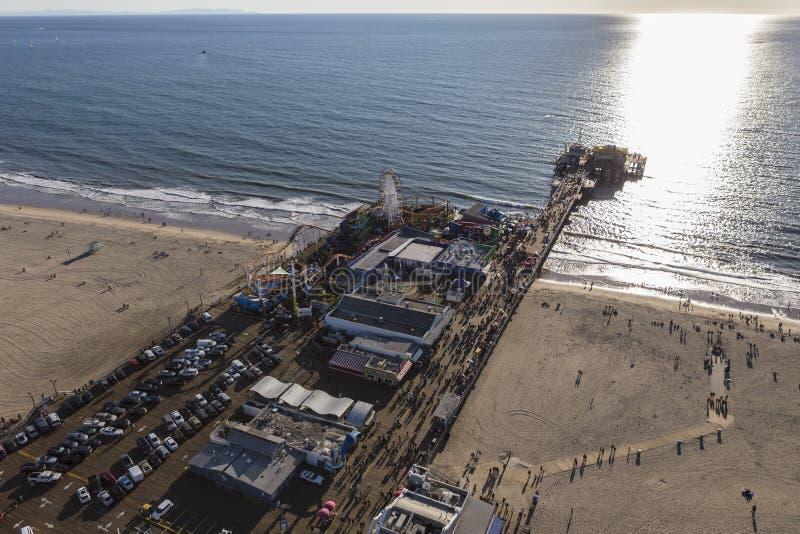 Santa Monica Pier California Coast Aerial royaltyfri foto