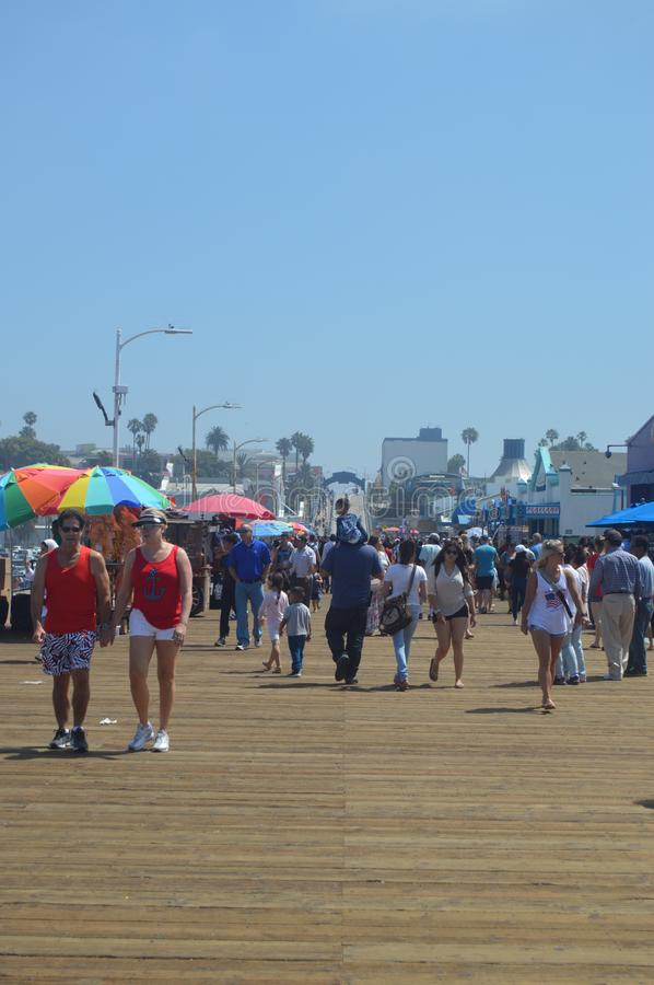 Crowded Santa Monica Beach With Tourist And Families