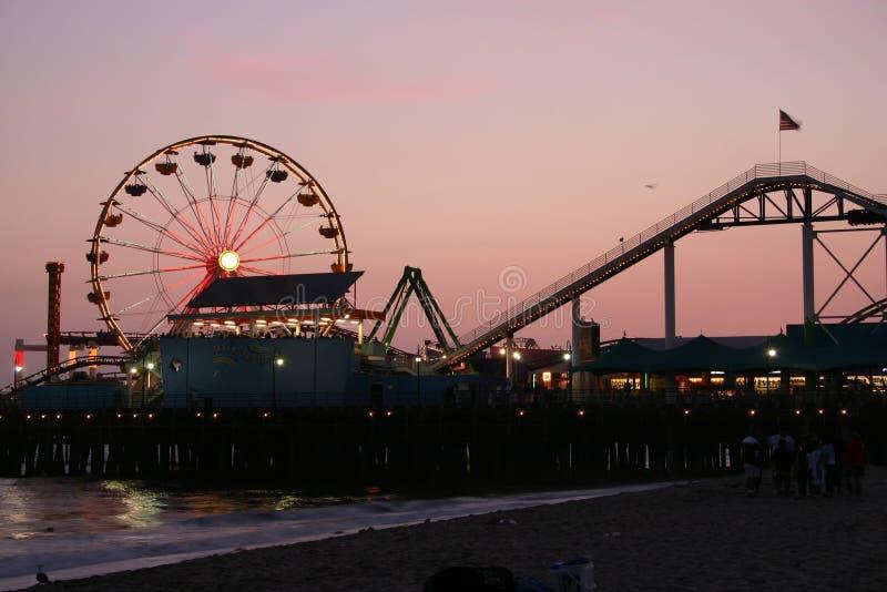 Santa Monica Pier at Dusk stock image