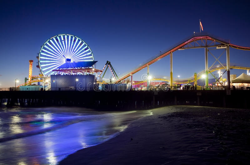 Download Santa Monica Pier at Night stock photo. Image of ferris - 20196558