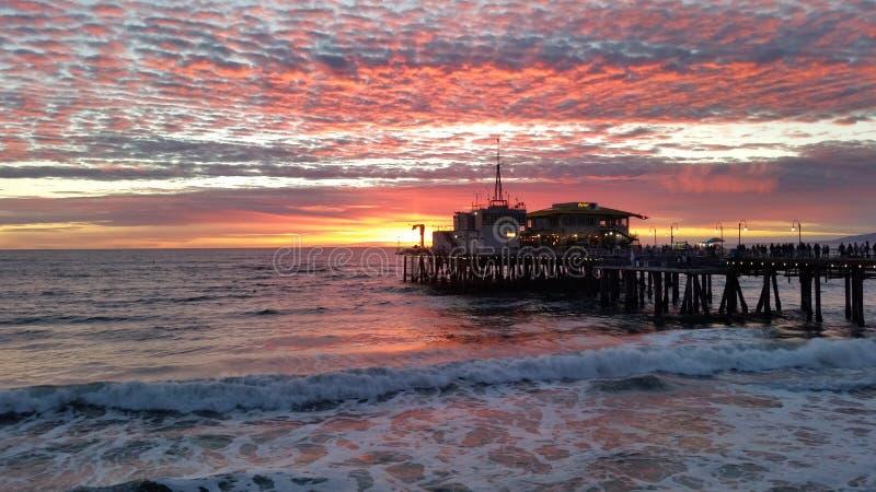 Santa Monica Pier Sunset stock photography