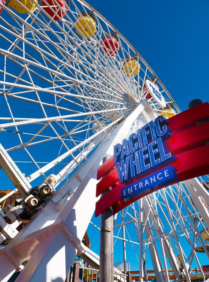 Santa Monica Pier Pacific Park Amusement Rides immagine stock