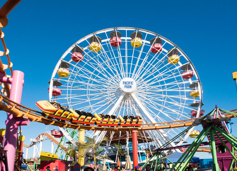 Santa Monica Pier Pacific Park Amusement Rides photographie stock