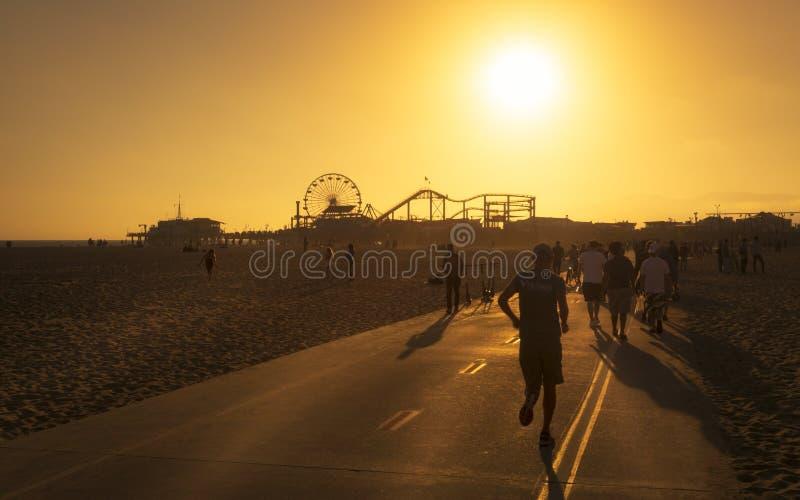 Santa Monica Pier, parco pacifico, spiaggia, Santa Monica, Los Angeles, California, Stati Uniti d'America, Nord America immagine stock libera da diritti