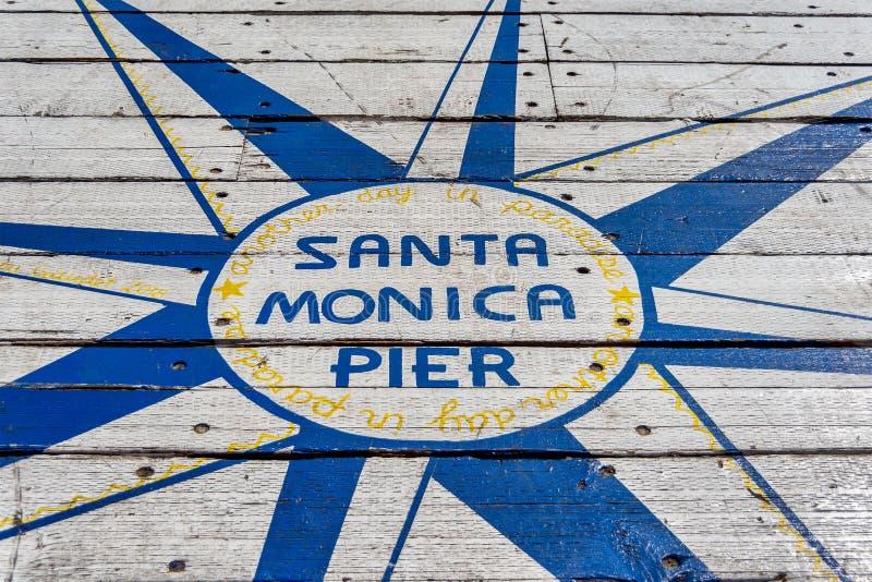 Santa Monica Pier Sign royalty free stock photo