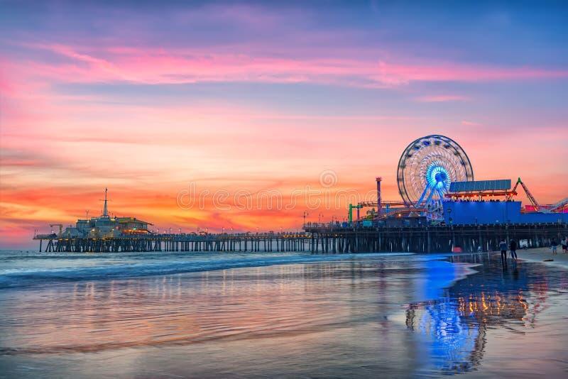 The Santa Monica Pier at sunset. Los Angeles, California royalty free stock photo