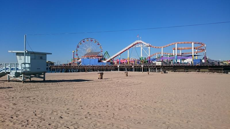 Santa Monica Pier. Viewed from the beach. December 2015 royalty free stock photography