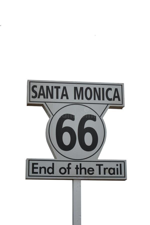 Santa Monica Route 66. End of trail on white background stock photos
