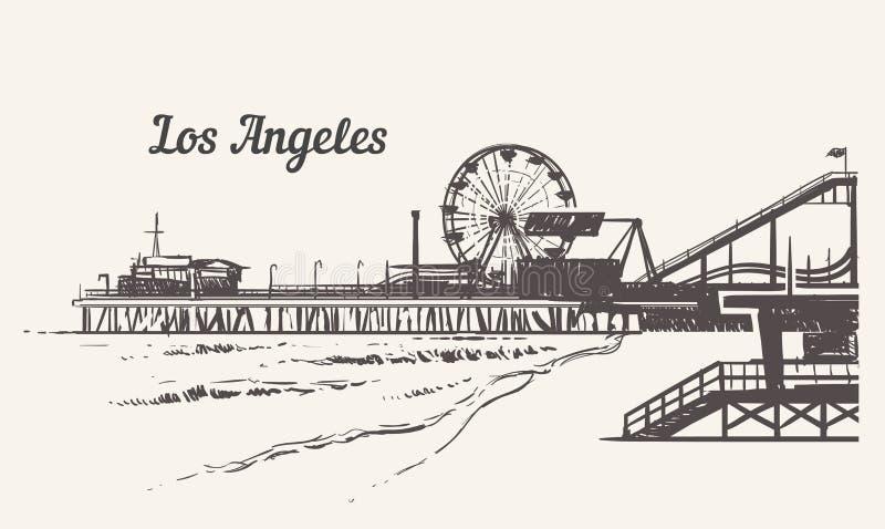 Santa Monica-strand met een pretparkschets De getrokken uitstekende vectorillustratie van Los Angeles hand royalty-vrije illustratie