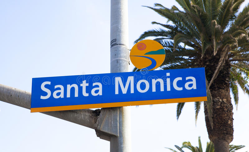 Santa Monica street sign. On a pole stock images