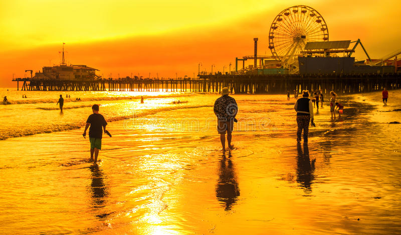 Santa Monica Sunset stock foto