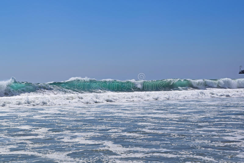 Santa Monica Surf. Large Waves off the coast of Santa Monica, California stock photos