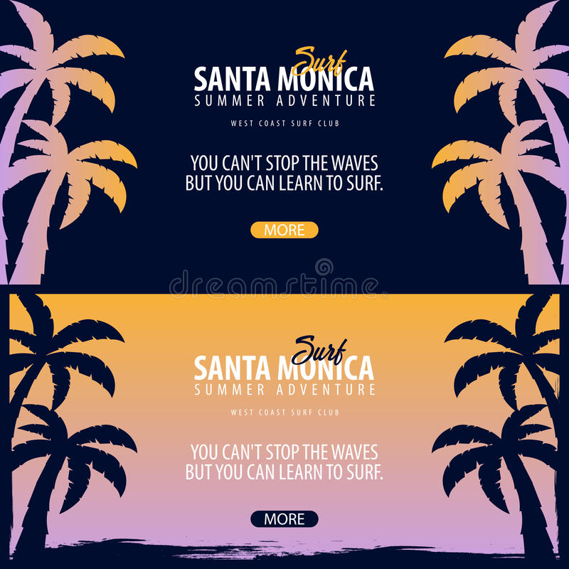 Santa Monica Surfing graphic with palms. Surf club Vector banner. vector illustration