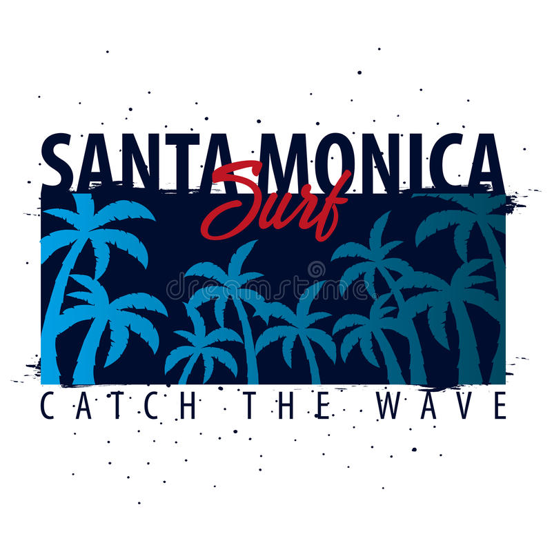 Santa Monica Surfing graphic with palms. T-shirt design and print. royalty free illustration