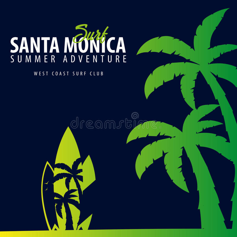 Santa Monica Surfing graphic with palms. T-shirt design and print. stock illustration