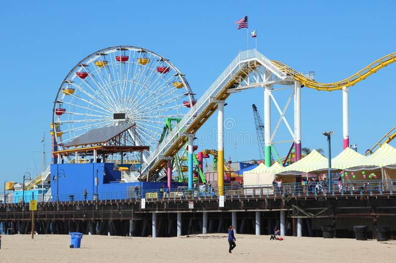 Santa Monica. UNITED STATES - APRIL 6, 2014: People visit beach in , California. As of 2012 more than 7 million visitors from outside of LA county visited stock photo