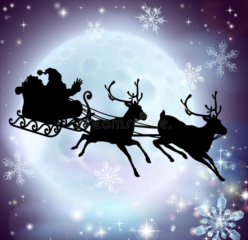 Santa moon sleigh silhouette. Santa flying in his sleigh with reindeer in front of a full moon in silhouette vector illustration