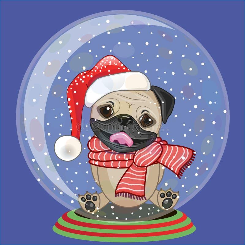 Santa mopsa pies royalty ilustracja