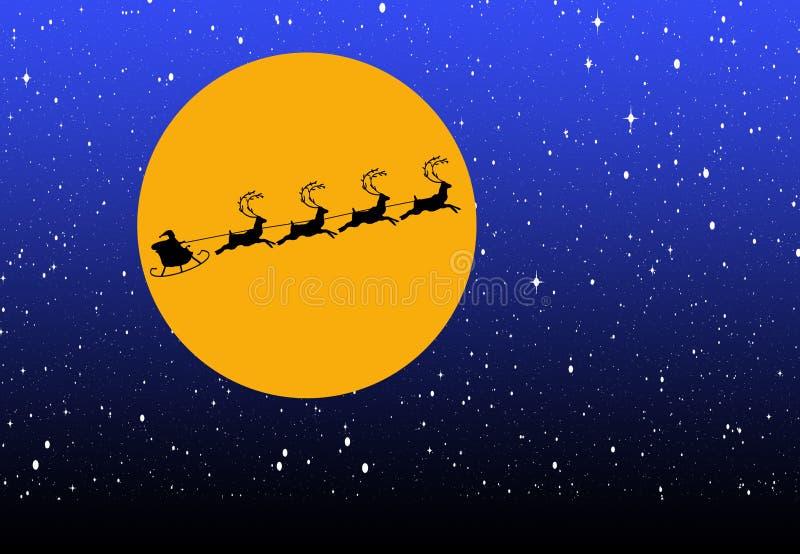 Santa mostrada em silhueta guia seu trenó através da cara de uma Lua cheia no wi ilustração do vetor