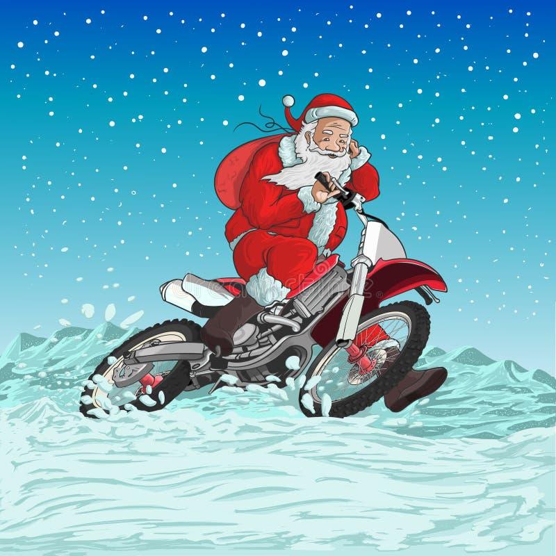 Santa motocykl royalty ilustracja