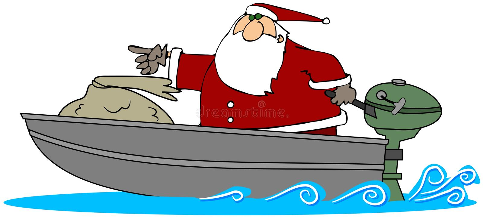 Santa In A Motor Boat. This illustration depicts Santa Claus speeding in a motor boat vector illustration