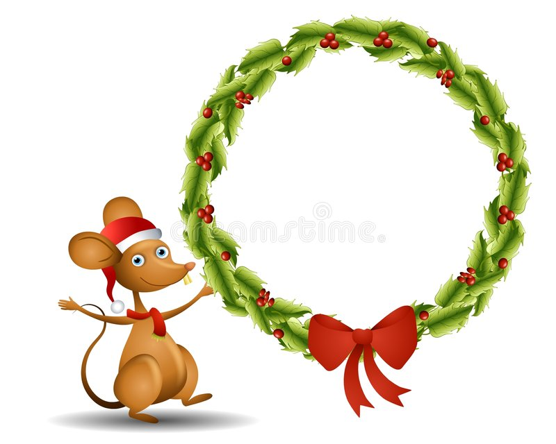 Santa Mouse Wreath. An illustration featuring a cartoon mouse wearing Santa hat and scarf holding a large wreath vector illustration